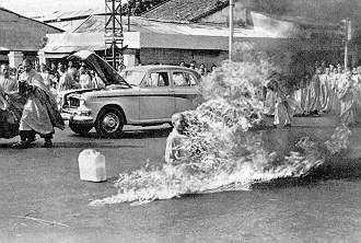 June 11, 1963, in Saigon, Vietnam, a Buddhist monk, Thich Quang Duc immolated himself in a busy intersection.